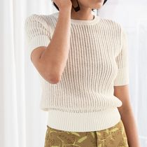 """""""& Other Stories"""" Open Crochet Knit Top White"""