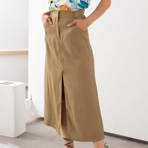 """& Other Stories"" Front Slit A-Line Midi Skirt Camel"