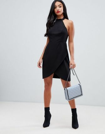 5a2f26f63329 ... ASOS ワンピース ASOS DESIGN Petite halter neck sexy mini dress(3)