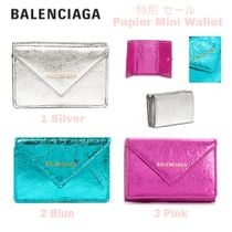 限定SALE★Papier Mini Wallet【送込BALENCIAGA】3折小財布/銀青