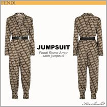 ◆FENDI 19AW最新作◆Fendi Roma Amor◆Satin jumpsuit◆Brown◆
