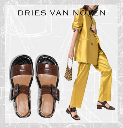 Dries Van Noten シューズ・サンダルその他 【Dries Van Noten】brown 45 buckled croc leather sandals