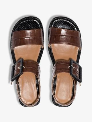 Dries Van Noten シューズ・サンダルその他 【Dries Van Noten】brown 45 buckled croc leather sandals(6)