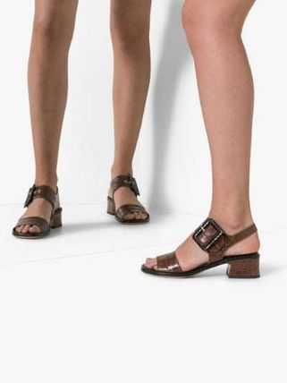Dries Van Noten シューズ・サンダルその他 【Dries Van Noten】brown 45 buckled croc leather sandals(4)