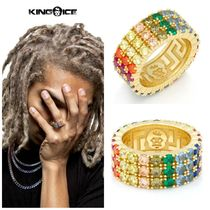 【King Ice】The 14K Gold Round CZ Triple Row Spectrum Ring