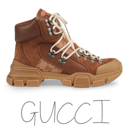 GUCCI シューズ・サンダルその他 Gucci Leather and Original Journey GG trekking boots レザー