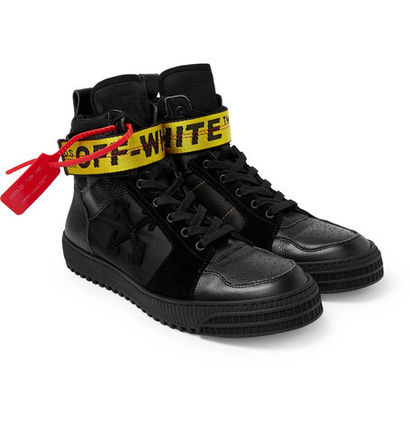 OFF-WHITE Suede And Ripstop High-Top Sneakers[関税/送料込]