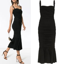 DG2061 RUCHED MIDI DRESS
