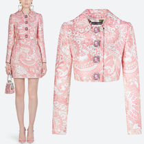 DG2065 LAME JACQUARD JACKET WITH JEWELRY BUTTON