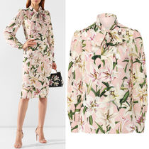 DG2080 LILY PRINT SILK BLOUSE WITH BOW