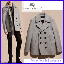 Burberry★素敵!Grey Melange Wool Cashmere Pea Coat