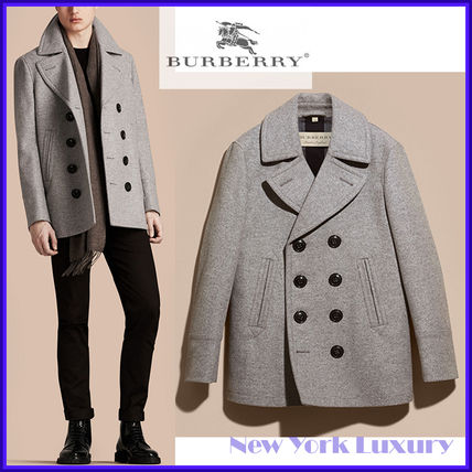 Burberry ピーコート Burberry★素敵!Grey Melange Wool Cashmere Pea Coat