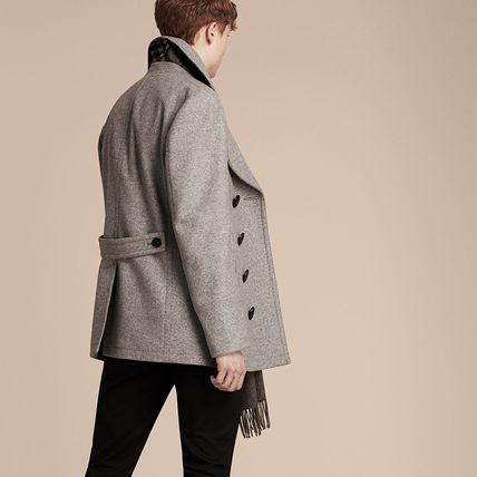 Burberry ピーコート Burberry★素敵!Grey Melange Wool Cashmere Pea Coat(2)