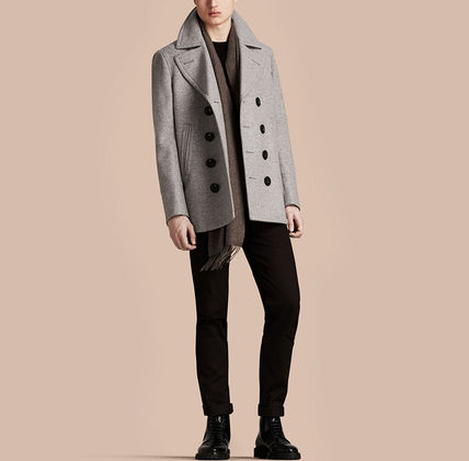 Burberry ピーコート Burberry★素敵!Grey Melange Wool Cashmere Pea Coat(3)