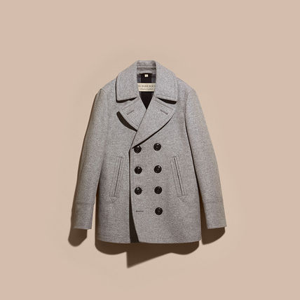 Burberry ピーコート Burberry★素敵!Grey Melange Wool Cashmere Pea Coat(6)