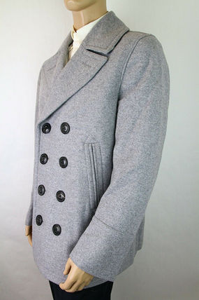 Burberry ピーコート Burberry★素敵!Grey Melange Wool Cashmere Pea Coat(8)