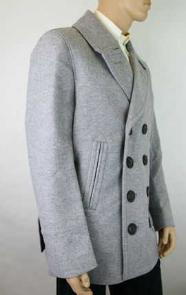 Burberry ピーコート Burberry★素敵!Grey Melange Wool Cashmere Pea Coat(9)