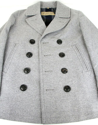 Burberry ピーコート Burberry★素敵!Grey Melange Wool Cashmere Pea Coat(11)