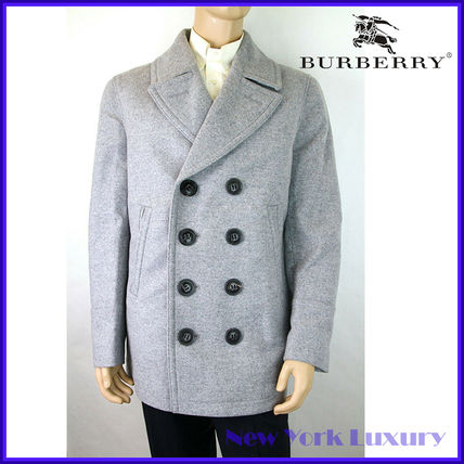 Burberry ピーコート Burberry★素敵!Grey Melange Wool Cashmere Pea Coat(16)