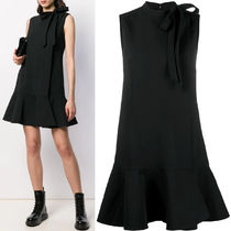 V1650 DOUBLE COMFORT CREPE DRESS WITH BOW