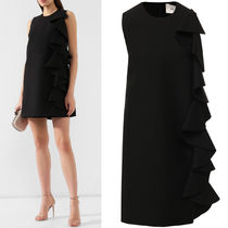 V1654 RUFFLED CREPE COUTURE DRESS