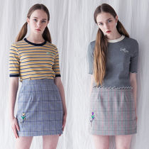 ★OH MY GIRLビニ愛用★スカート FLOWER EMBROIDERY CHECK SKIRT