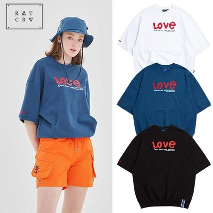 ROMANTIC CROWN Tシャツ・カットソー ROMANTIC CROWN★[R.C X M.G]WITH LOVE Pocket T Shirts 3カラー