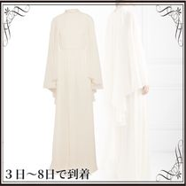 関税込◆Cape-effect silk-chiffon gown