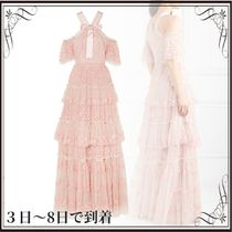 関税込◆Primrose cold-shoulder tiered embroidered tulle