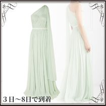 関税込◆One-shoulder crinkled silk-chiffon and satin gown