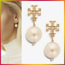 【即発】Tory Burch★CRYSTAL-PEARL LOGO DROP EARRING ピアス