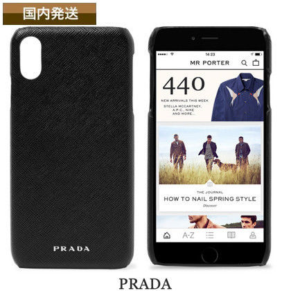 new arrival f7b94 3df1b 送料関税込☆Prada☆Logo Saffiano Leather IPhone XS Max Case
