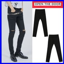 [OPEN THE DOOR]  black cutting skinny pants /追跡付