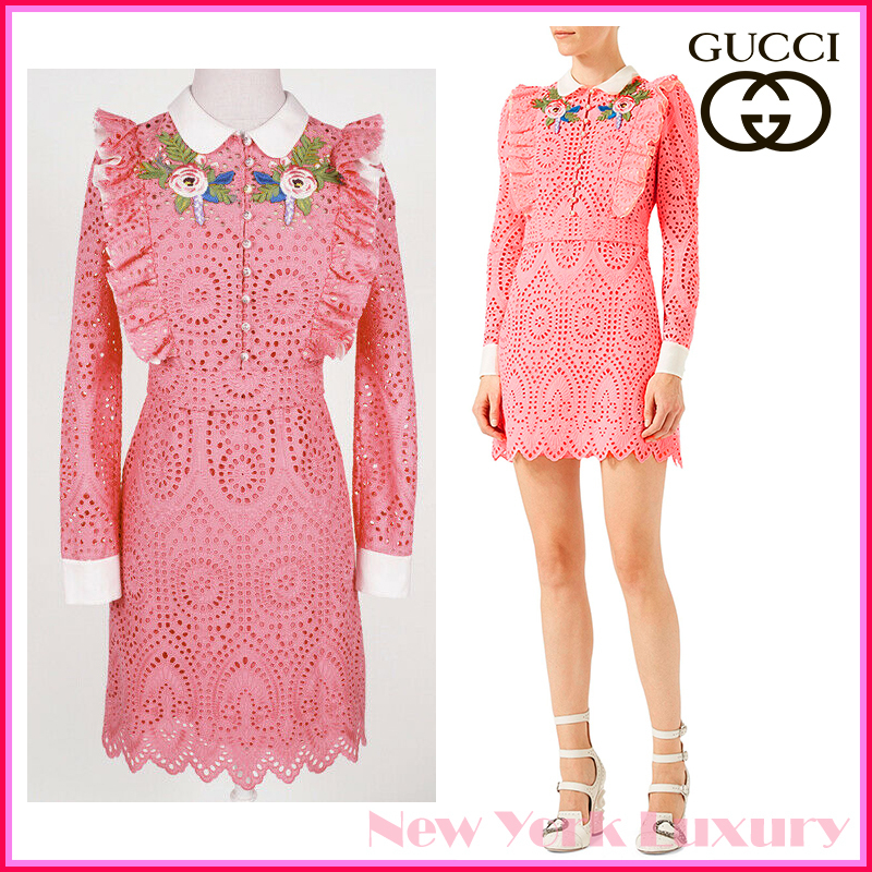 GUCCI★グッチ★素敵!Pink Broderie Anglaise cotton dress (GUCCI/ワンピース) 454007