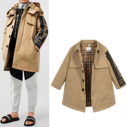 大人も着れる♪ ★ Burberry Beige Cotton Car Coat ★ 防水