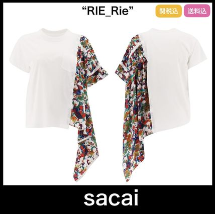 ★芸能人愛用★【sacai】 Pleated Floral Print T-Shirt White