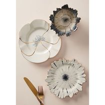 Anthropologie(アンソロポロジー) 食器(皿) Papetal Floral Plate&Bowlゴールドと花の人気3点セット 即納