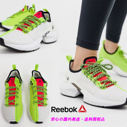Reebok Running sole fury trainers in white and green♪