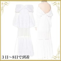 関税込◆Lace-trimmed poplin gown
