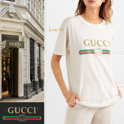 GUCCI Tシャツ・カットソー 関税込 19AW【GUCCI】ロゴ& アップリケ付き コットン Tシャツ