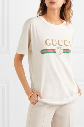 GUCCI Tシャツ・カットソー 関税込 19AW【GUCCI】ロゴ& アップリケ付き コットン Tシャツ(2)