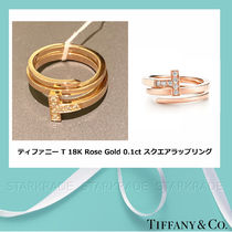 [Tiffany] ティファニー T Rose Gold 0.1ct Square Wrap Ring