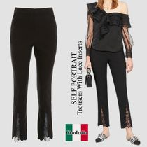 Self portrait Trousers With Lace Inserts