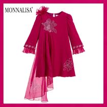 Monnalisa Couture★Pink ビスコース&シルクドレス★6-11Y