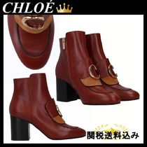 CHLOE CHLOE C ANKLE BOOTS IN SEMI-SHINY LEATHER