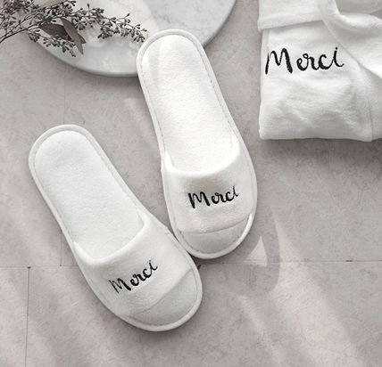 DECO VIEW ライフスタイルその他 【DECO VIEW】 Modern Lettering Embroidery Towel slippers(2)