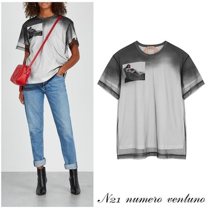N21 numero ventuno Tシャツ・カットソー N21ヌメロヴェントゥーノ Tulle-layered printed cotton T-shirt