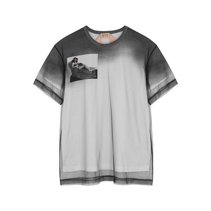 N21 numero ventuno Tシャツ・カットソー N21ヌメロヴェントゥーノ Tulle-layered printed cotton T-shirt(4)