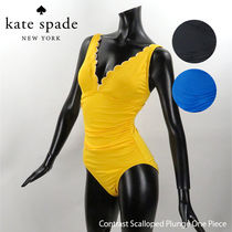 Kate Spade Contrast Scalloped Plunge One Piece[S96241]
