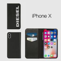 "【DIESEL】☆ロゴ入り ""SLIM LEATHER FOLIO"" iPhone X ケース/黒"